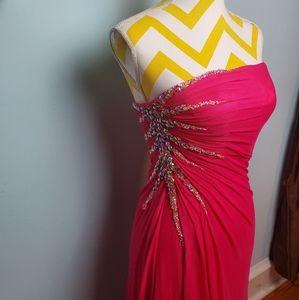 beaded prom dress w/optional spaghetti straps nwt